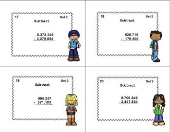 Math Task Cards-Grade 4-Adding and Subtracting Columns 3-9 Digits-Tweens