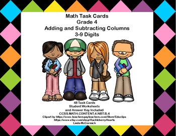 Math Task Cards-Grade 4-Adding and Subtracting Columns 3-9