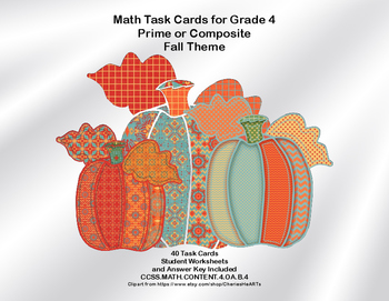 Math Task Cards Grade 4 Prime or Composite Fall Theme CCSS