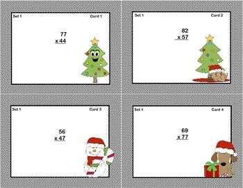 Math Task Cards Grade 5- Multiplication -CCSS.5.NBT.B.5 Christmas Theme