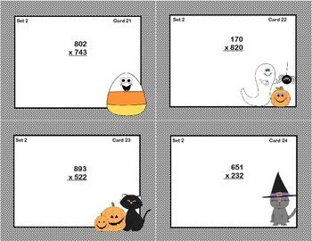 Math Task Cards Grade 5- Multiplication -CCSS.5.NBT.B.5 Halloween Theme