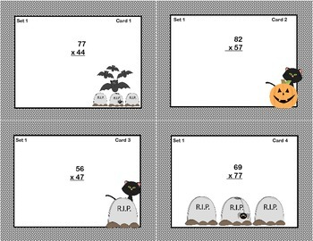 Multiplication - Halloween Theme-Math Task Cards -Grade 5-CCSS.5.NBT.B.5