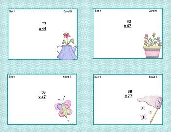 Math Task Cards Grade 5- Multiplication -CCSS.5.NBT.B.5 Spring Themed