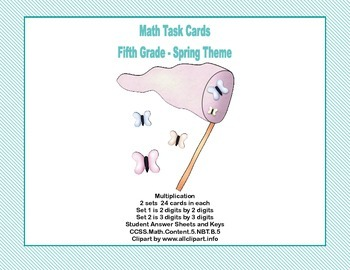 Math Task Cards Grade 5- Multiplication -CCSS.5.NBT.B.5 Sp