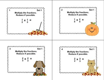 Math Task Cards Grade 5 Multiplication/Division of Fractions Fall Theme
