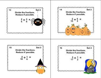 Math Task Cards Grade 5 Multiplication/Division of Fractions Halloween Theme