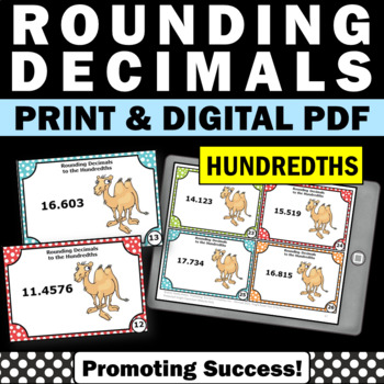 Rounding Decimals SCOOT Game to the Nearest Hundredth, Decimal Task Cards