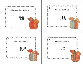 Math Task Cards Grade 6 Mixed Adding And Subtracting Decimals to Thousandths