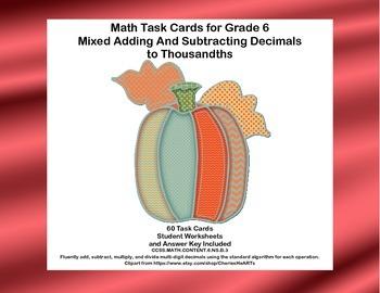 Math Task Cards Grade 6 Mixed Adding And Subtracting Decim