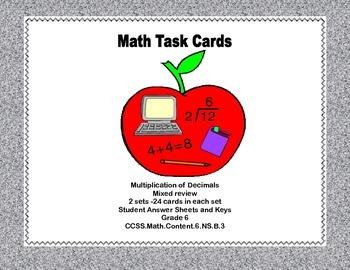 Math Task Cards Grade 6 Multiplication of Decimals CCSS.Ma