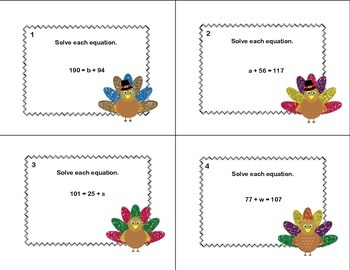 Solving Addition Equations-Algebra Task Cards- Grade 6 - Thanksgiving Theme