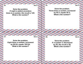 Math Task Cards-Grade 7-More Algebra Word Problems-CCSS.7.EE.B.4.A