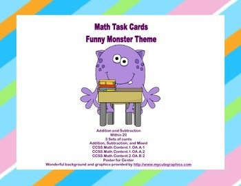 Math Task Cards- Grades 1-2 Addition/Subtraction Within 20 Funny Monsters