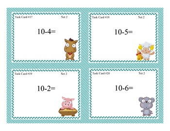Math Task Cards- Grades 1-2 Addition/SubtractionWithin 20