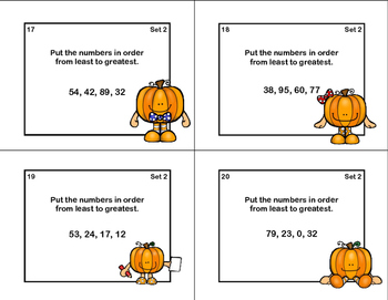 Math Task Cards-Grades 1-2-Ordering Numbers 0-99