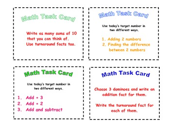 Math Task Cards Grades 1 and 2