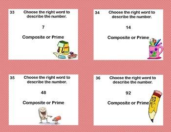 "Math Task Cards Grades 4-6  ""Prime or Composite?"""