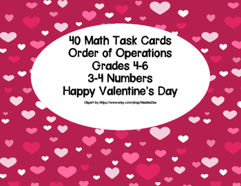Simplify Using The Order Of Operations-Valentine's-Math Task Cards Grades 4-6