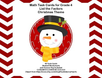 Factoring Numbers-Math Task Cards- Grade 4- Christmas Theme