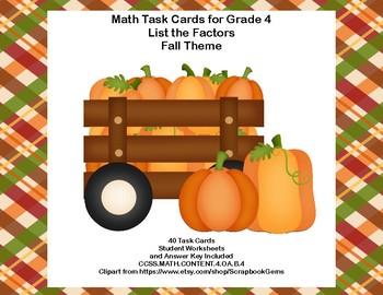 Math Task Cards Grade 4 Fall Theme Factors CCSS.MATH.CONTENT.4.OA.B.4