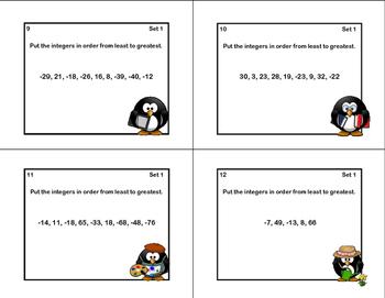 Math Task Cards Grades 5-6 Ordering Integers-Penguin Theme