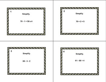 Math Task Cards Grades 5-6 Simplify Using The Order Of Operations