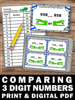 Comparing Numbers Task Cards, 1st 2nd Grade Math Review, Alligator Math Games