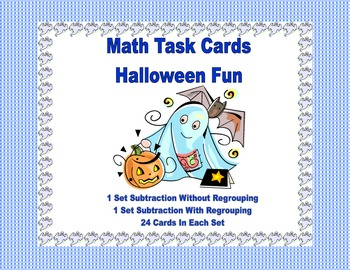 Math Task Cards- Halloween Theme-Subtraction With & Without Regrouping