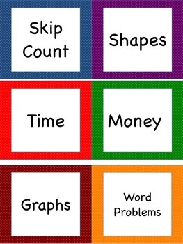 Math Task Cards Headers