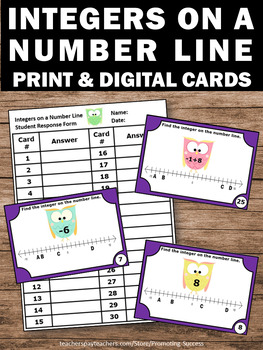 Integers on a Number Line, Middle School Math Review, Integer Task Cards
