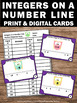 Integers on a Number Line Task Cards 6th Grade Common Core Math