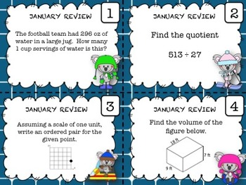 Math Task Cards - (JANUARY)