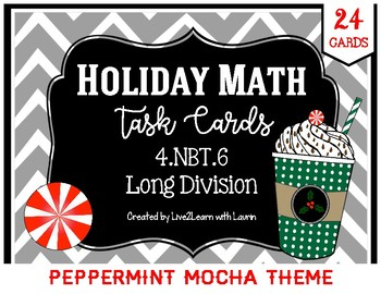 Math Task Cards: Long Division (Peppermint Mocha Theme)
