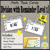Math Task Cards - Long Division with Remainder - Level 1