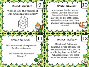 Math Task Cards for Spring Math Centers ~ March