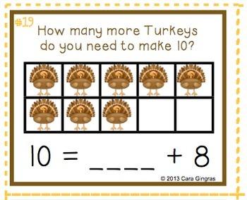 Thanksgiving Math - How Many More Turkeys? K/ 1