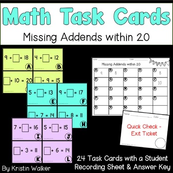 Math Task Cards - Missing Addends within 20