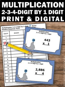 2 Digit Multiplication Task Cards, 3 Digit Multiplication plus 4 Digit Review