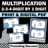 4th Grade Multiplication Centers, 2-3-4 Digit by 1 Digit Divisor Task Cards