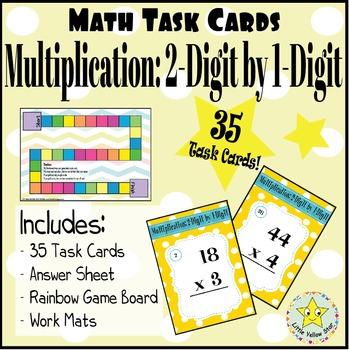 Math Task Cards: Multiplication: 2-Digit by 1-Digit [35 Task Cards]