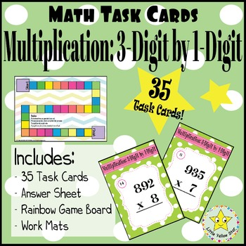 Math Task Cards:  Multiplication: 3-Digit by 1-Digit [35 Task Cards]