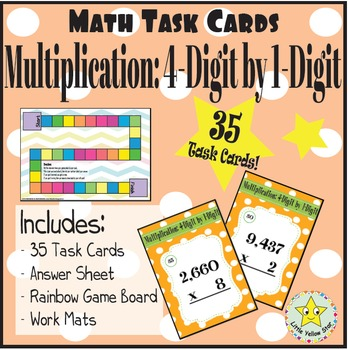 Math Task Cards: Multiplication: 4-Digit by 1-Digit [35 Task Cards]