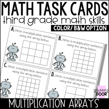 Math Task Cards- Multiplication Arrays- Third Grade