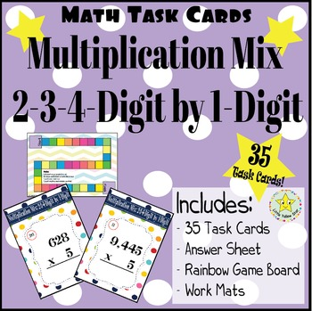 Math Task Cards: Multiplication Mix: 2-3-4-Digit by 1-Digit [35 Task Cards]