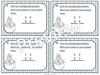 Math Task Cards: Multiplication - Winter Theme!