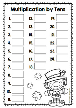 Math Task Cards: Multiplication by tens (St. Patrick´s day theme)