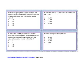 Math Task Cards Multiply by One Digit Numbers Task Cards Word Problem Task Cards
