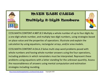 Math Task Cards Multiplying 2 Digit Numbers Task Cards