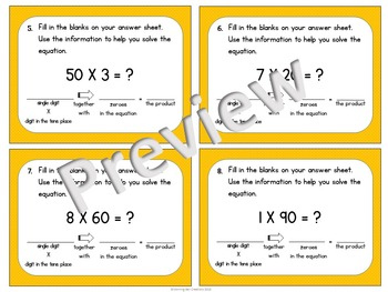 Math Task Cards Multiplying by Multiples of Ten