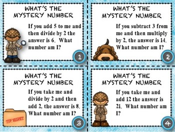 Math Task Cards - Mystery Number